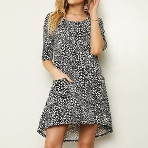 Black and White Leopard Print Dress